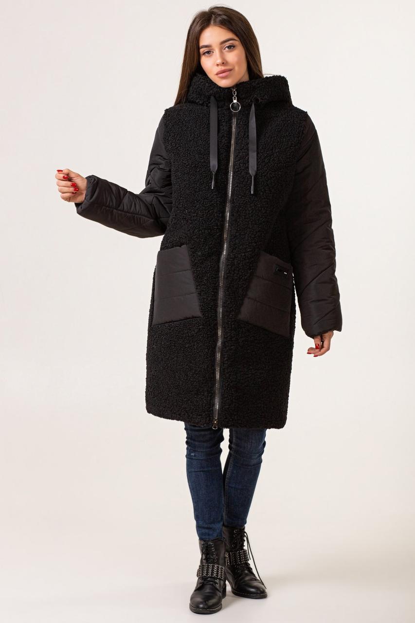 Пуховики зимние женские  модные   44-52  черный