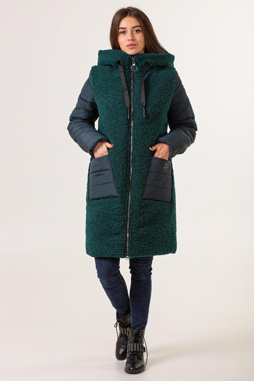 Пальто зимние женские  модные   44-52  зеленый