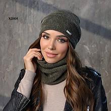 Вязанный набор шапка+баф пряжа,50%шерсти, 50% акрил 4 расцветки
