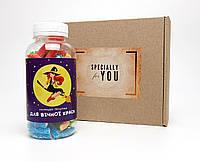 """Лакричные конфеты- в баночке """"Для вечной красоты"""" в крафтовой коробке- Прикольный подарок для настоящих женщин"""