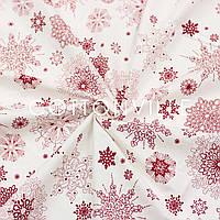 Ранфорс 240 см Снежинки изящные красные на белом