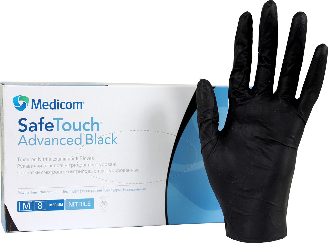 Нитриловые перчатки Черные 6г/м² (100шт/уп) Медиком SafeTouch® Advanced Black