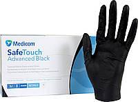 Нитриловые перчатки Черные 6г/м² (100шт/уп) Медиком SafeTouch® Advanced Black, фото 1