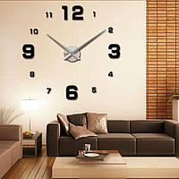 Годинники настінні 3D DIY NEW Clock (з цифрами) Black