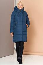 Теплая Зимняя стеганая куртка-парка с фигурной линией низа 46-56р