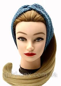 Пов'язка чалма для волосся сіро-блакитна