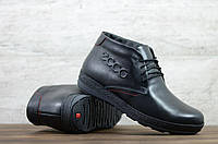 Мужские кожаные зимние ботинки Ecco чёрные 44 размер ( шерсть )