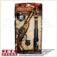 Пиратский набор: пистолет, повязка на глаз, значок, подзорная труба (муляж)