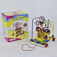 Деревянная каталка Пальчиковый лабиринт С 29469, развивающая игрушка для детей