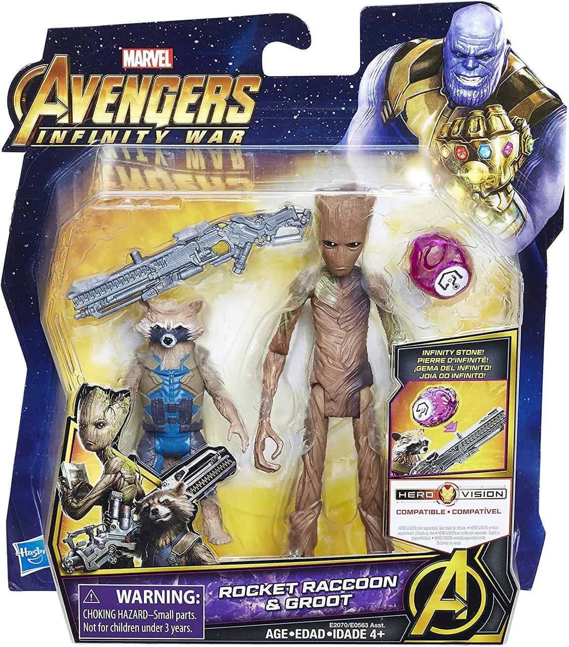 Набор фигурок Hasbro Грут и Ракета, Мстители Война Бесконечности, 8-15 см - Groot and Rocket, Infinity War