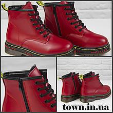 Ботинки женские демисезонные Loretta Y204-6 red на шнуровке повседневные, красные на осень-зиму. 36 - 41 р.