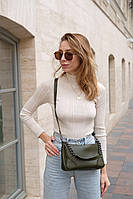 Оливковая женская сумка клатч кросс-боди через плечо 62208, фото 1