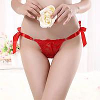 Женские ажурные стринги с атласными ленточками, фото 1