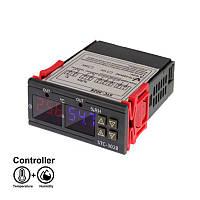 Терморегулятор термостат + влагомер цифровой 2 LCD SENSOR STC-3028, для обогревателей, инкубаторов, ферм