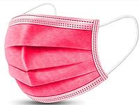 Маска защитная медицинская Розовая трехслойная с фильтром и зажимом для носа ( упаковка 50шт) ОПТОМ