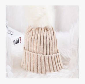 Яскрава в'їхав пов'язана шапка з помпоном в'язана шапка