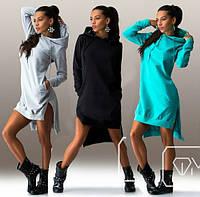 Трикотажное платье-туника с капюшоном, фото 1