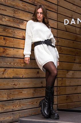 Вязаная туника-платье «Тина» (айвори), фото 2
