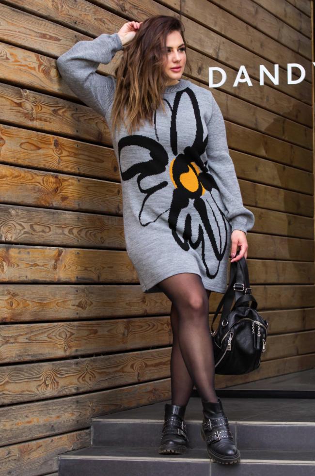 Теплое вязаное платье «Zемфира» (серый, черный, горчица)