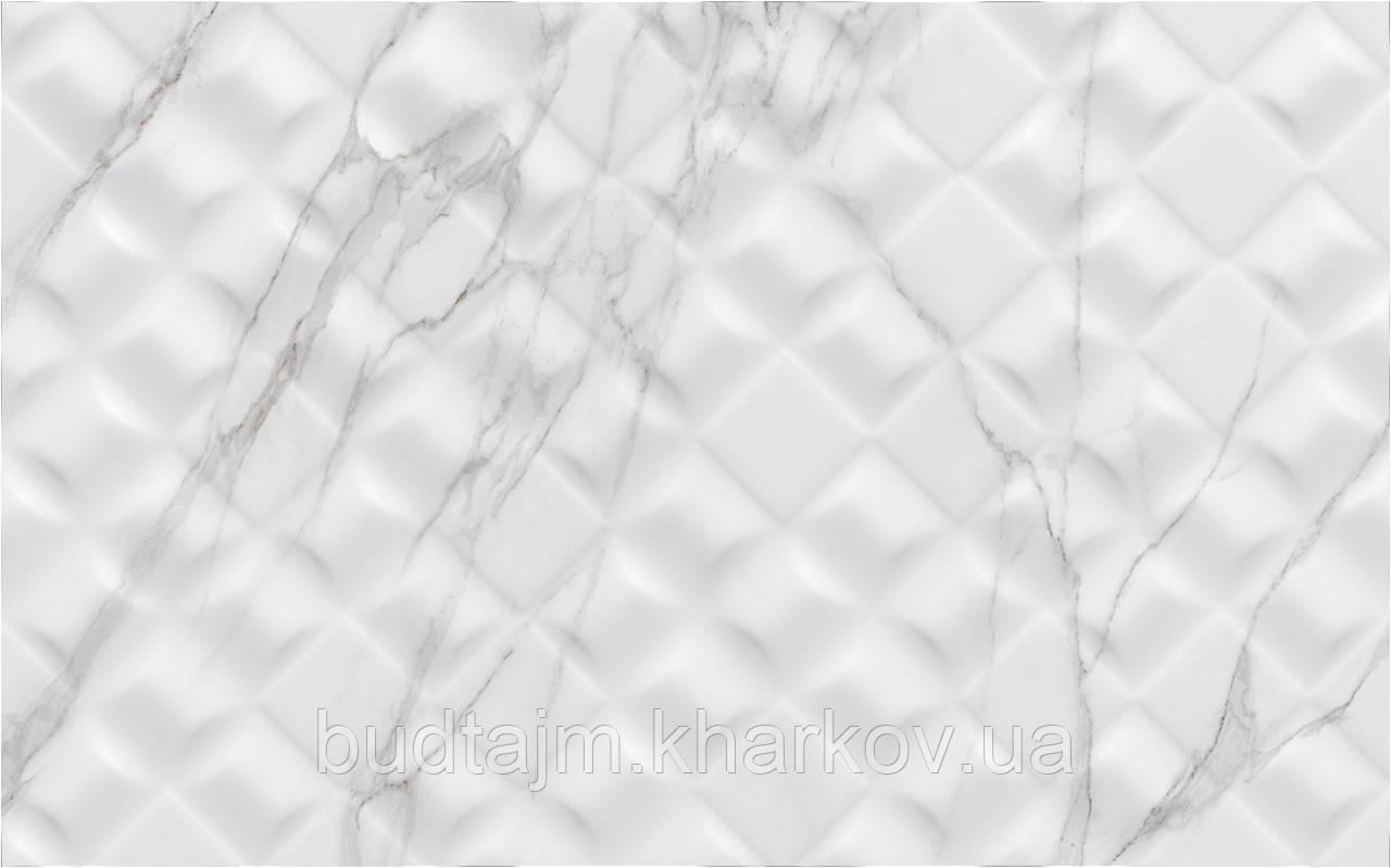 25х40 Керамическая плитка стена Elba Эльба Рельеф белый серый глянец