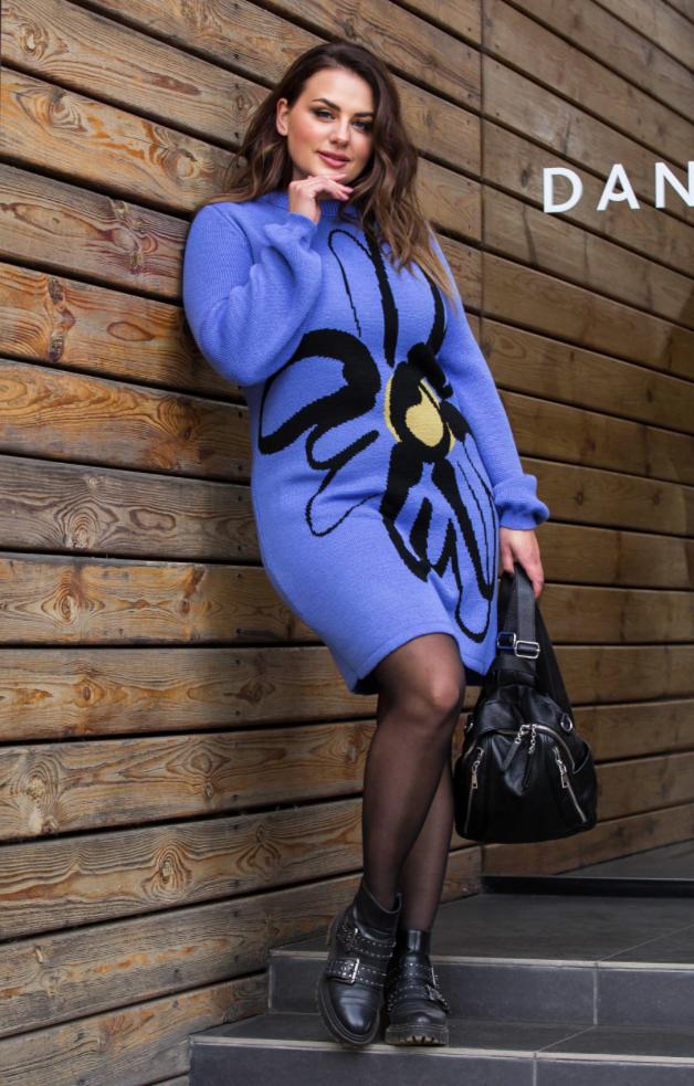 Теплое вязаное платье «Zемфира»(темно голубой, черный, фисташка)