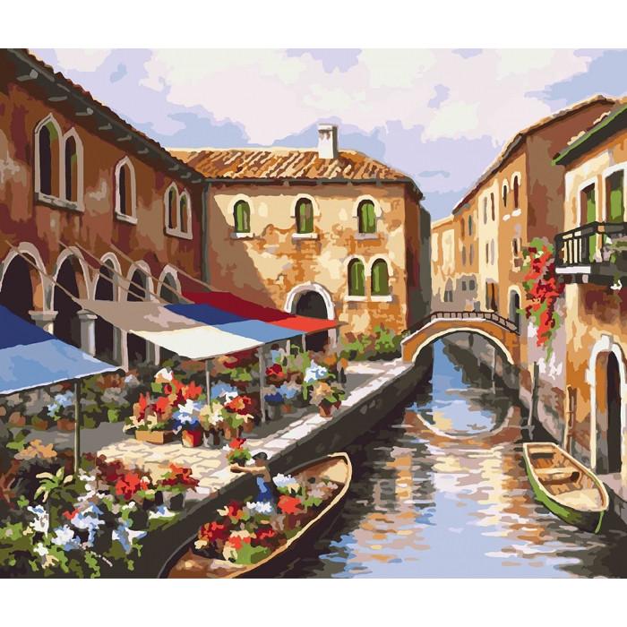 """Картина по номерам 40*50см Міський пейзаж """"Квітковий ринок"""" Ідейка КНО2191"""