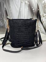 Замшевая женская сумка на плечо черная вместительная городская модная натуральная замша+кожзам, фото 1