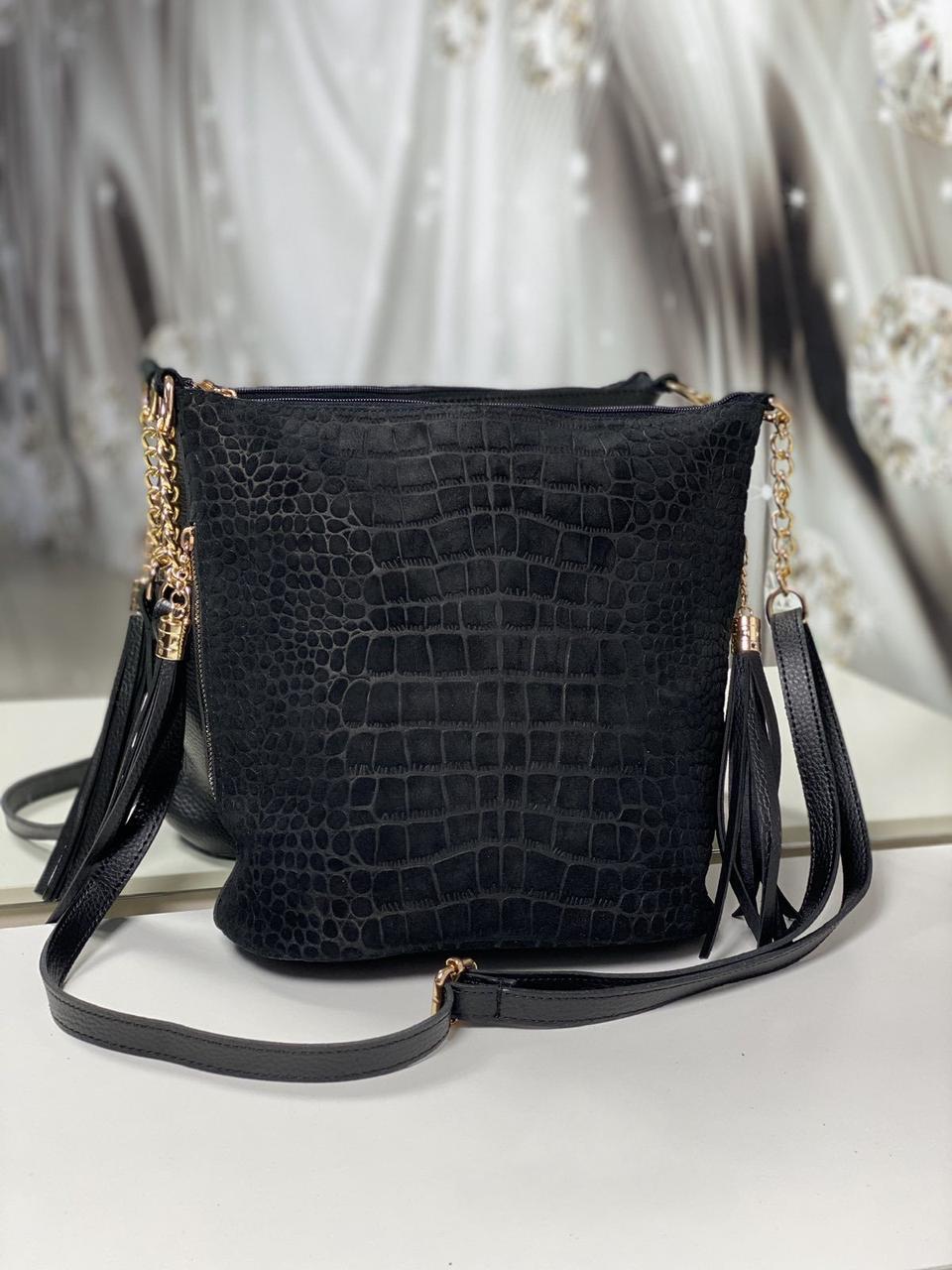 Замшевая женская сумка на плечо черная вместительная городская модная натуральная замша+кожзам