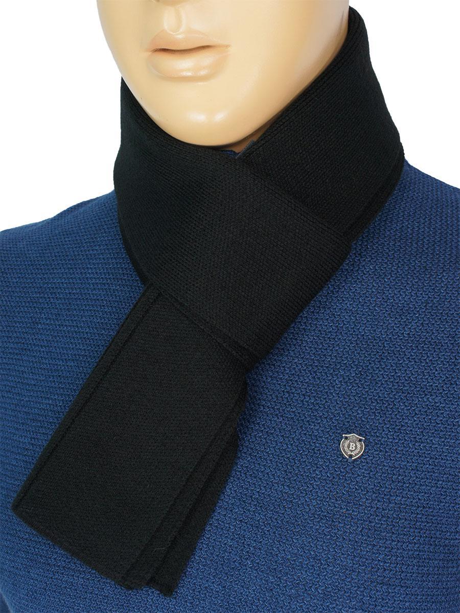 Однотонный мужской вязаный шарф Apex 0200 black в черном цвете