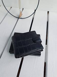 Кожаный мужской кошелек размером 11,5x9,5x2,5 см Черный