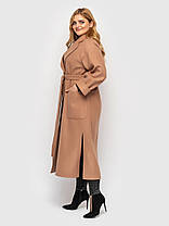 Пальто удлиненное кашемировое Беж Размеры  48-50 52-54 56-58, фото 2