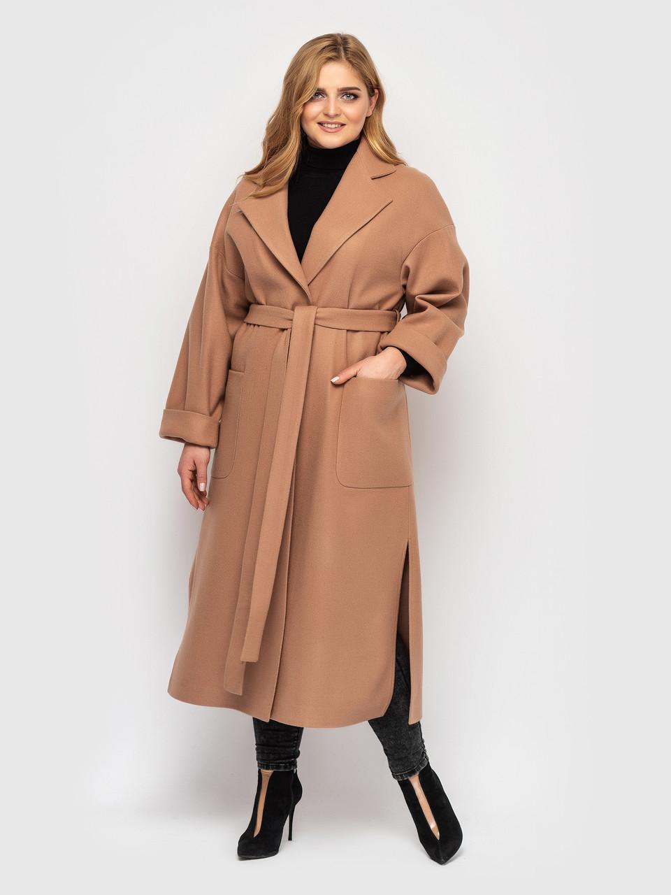 Пальто удлиненное кашемировое Беж Размеры  48-50 52-54 56-58