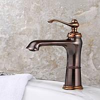 Смеситель для раковины, однорычажный, кран для ванной комнаты полированная медь