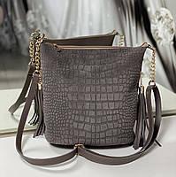 Замшевая женская сумка на плечо вместительная городская модная мокрый камень натуральная замша+кожзам, фото 1