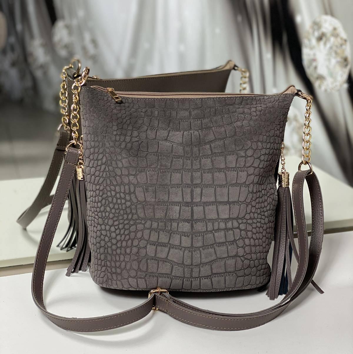 Замшевая женская сумка на плечо вместительная городская модная мокрый камень натуральная замша+кожзам