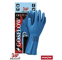 Перчатки защитные из флокированной резины Reis (GOSFLOW) синие