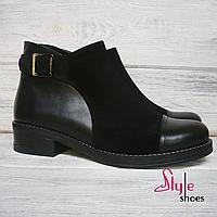 Ботинки женские демисезрнные из черной кожи и замши