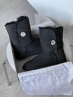 Женская зимняя обувь УГГи черного цвета с пуговкой. Высокие комфортные угги для девушек.