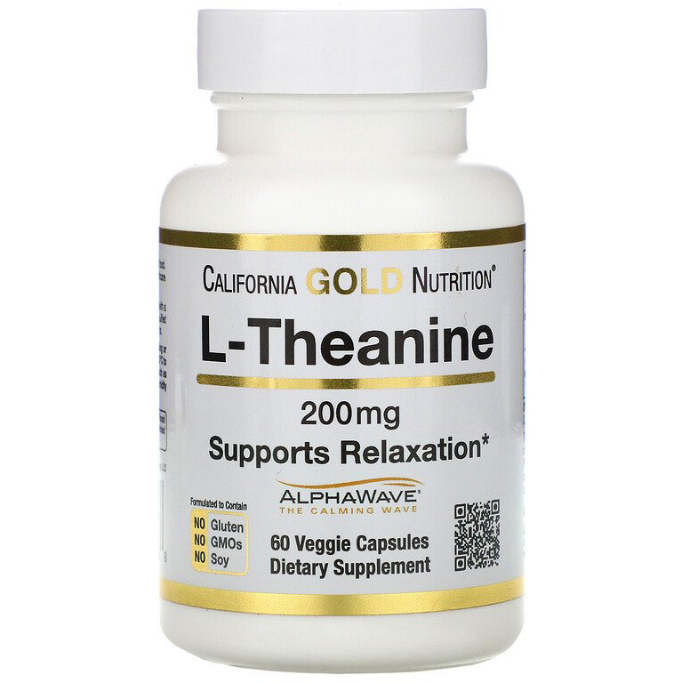 "L-Теанин California GOLD Nutrition ""L-Theanine"" 200 мг (60 капсул)"