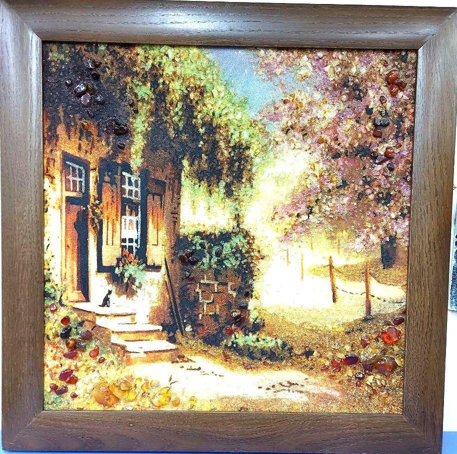 Пейзаж Дворик в деревянной широкой рамке П-344 Гранд Презент 40*40