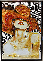 Дама в шляпе на холсте Р-91 Гранд Презент 30*40