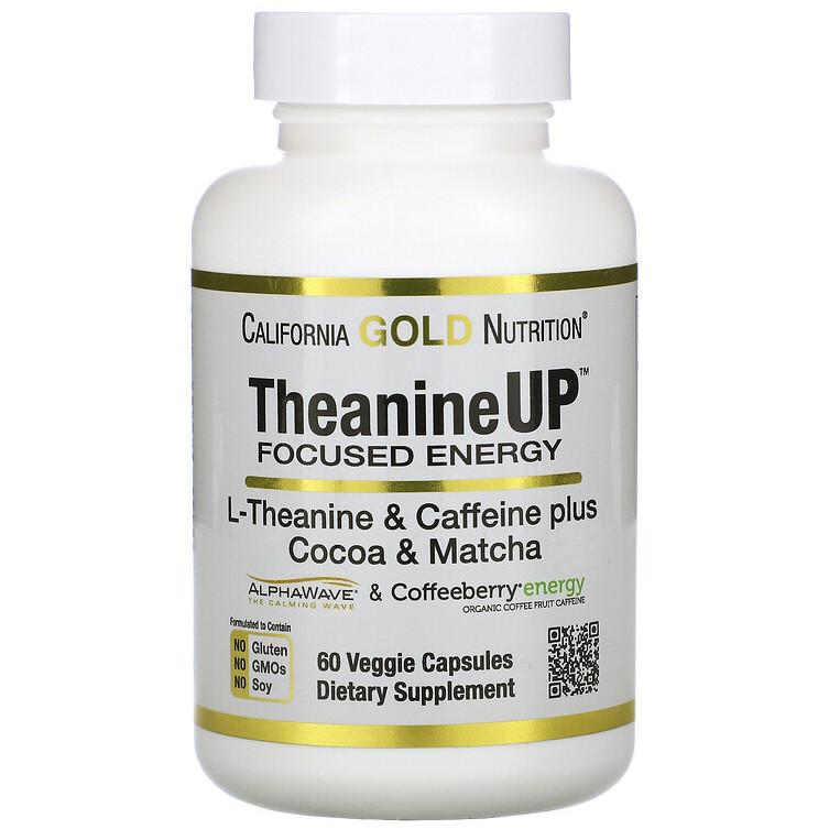"""L-Теанин и кофеин California GOLD Nutrition """"TheanineUP"""" концентрация и энергия (60 капсул)"""