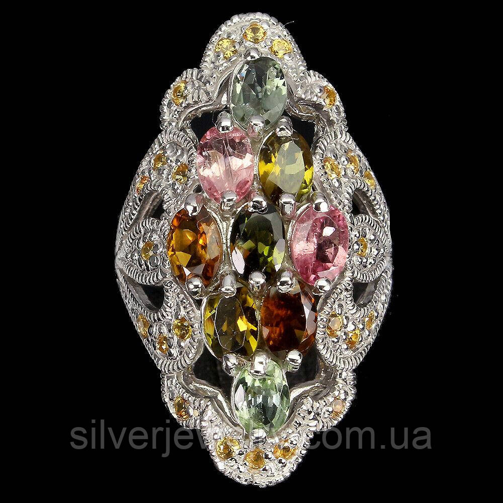 Серебряное кольцо с ТУРМАЛИНОМ (натуральный), серебро 925 пр. Размер 18