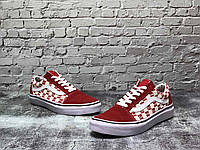 Кроссы для мужчин и женщин Ванс Олд Скул. Унисекс кроссовки Vans Old School красные с белым