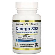 Омега 800, Рыбий жир фармацевтического качества, 1000 мг, California Gold Nutrition, 30 желатиновых капсул