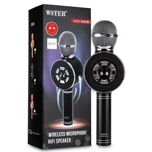 Беспроводной караоке микрофон с подсветкой WS-669 Bluetooth Черный