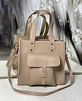 Женская сумка бежевая средняя классическая с карманом повседневная квадратная экокожа, фото 1