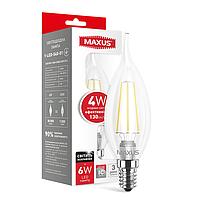 LED лампа MAXUS (filam), C37 TL, 4W, яркий свет,E14 (1-LED-540-01)
