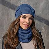 Вязанный набор шапка+баф пряжа,50%шерсти, 50% акрил, фото 2
