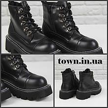 Ботинки женские демисезонные Loretta Y210 black на шнуровке повседневные, черные на осень-зиму. 36 - 41 р.